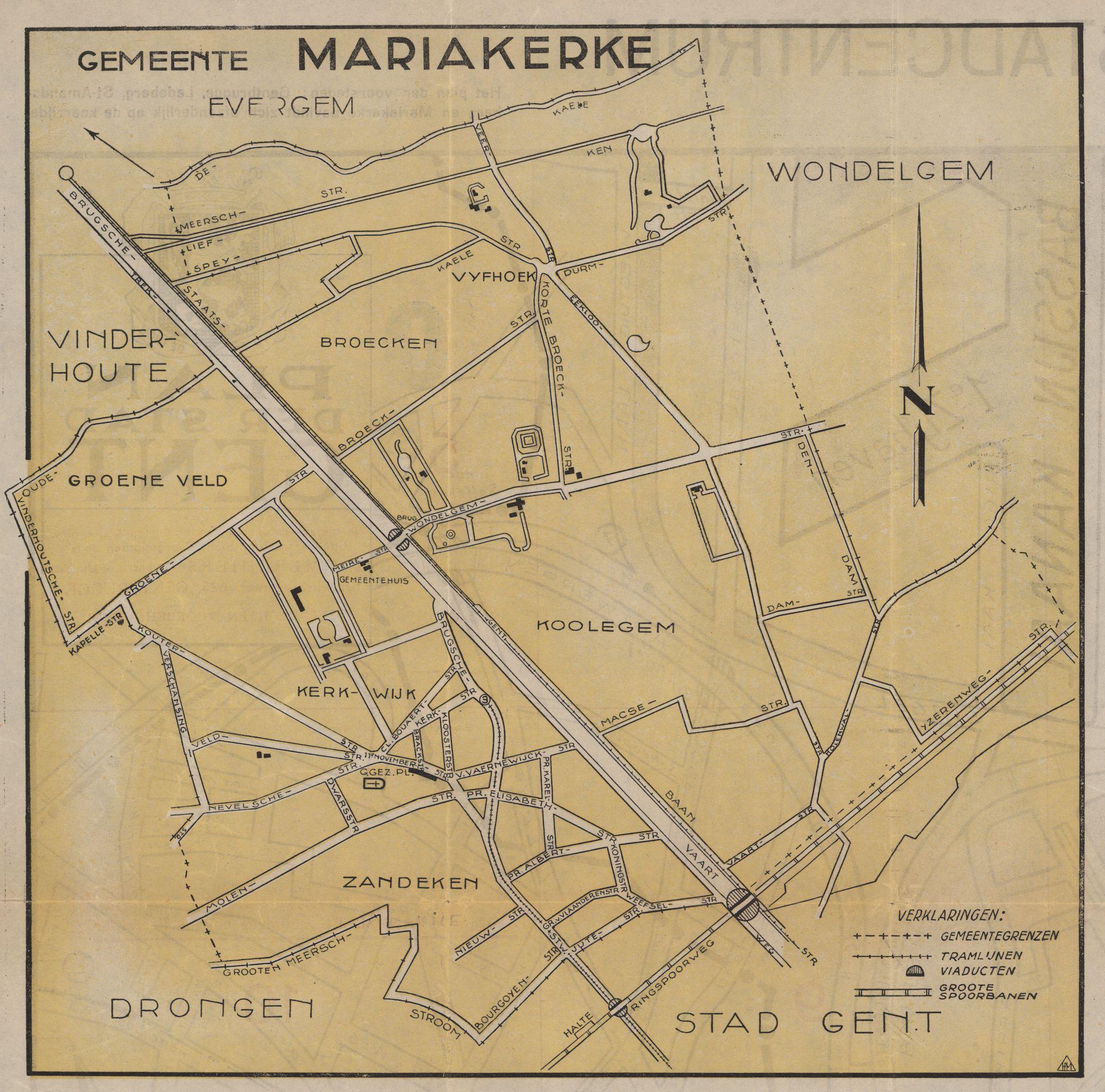 Kaart van de gemeente Mariakerke, c.1950