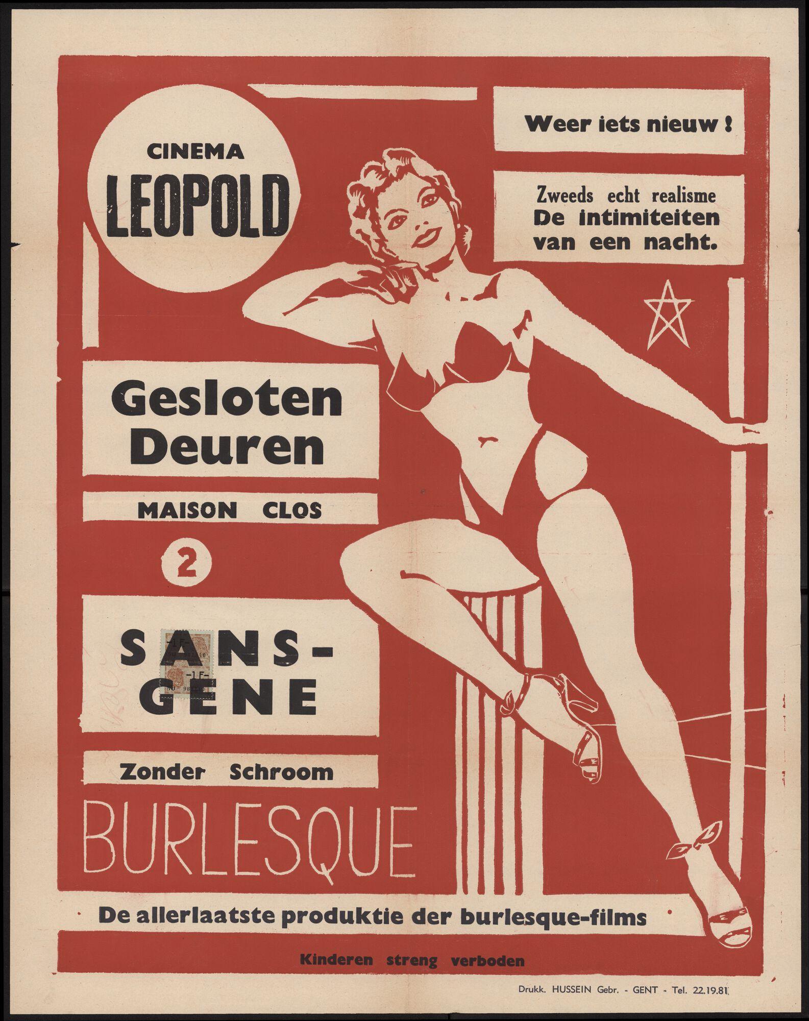 Maison clos | Gesloten deuren (film 1), Sans-gène | Zonder schroom (film 2), Cinema Leopold, Gent