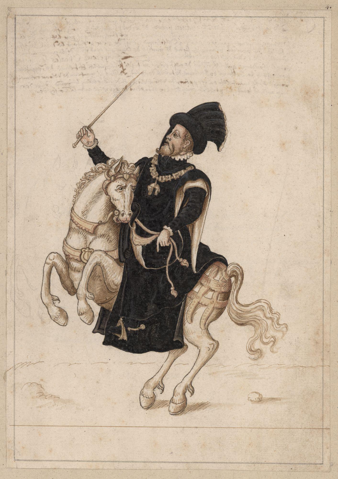 Filips II, koning van Spanje, te paard als grootmeester van het Gulden Vlies, gekleed in het zwart, op de tweede dag van het kapittel te Gent in 1559
