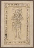 Gent: Jacobijnenstraat: Dominicanenkerk (nu verdwenen): grafplaat van Pieterkin van Vlaanderen (+1367), bastaardzoon van Lodewijk van Male, graaf van Vlaanderen, voor 1578