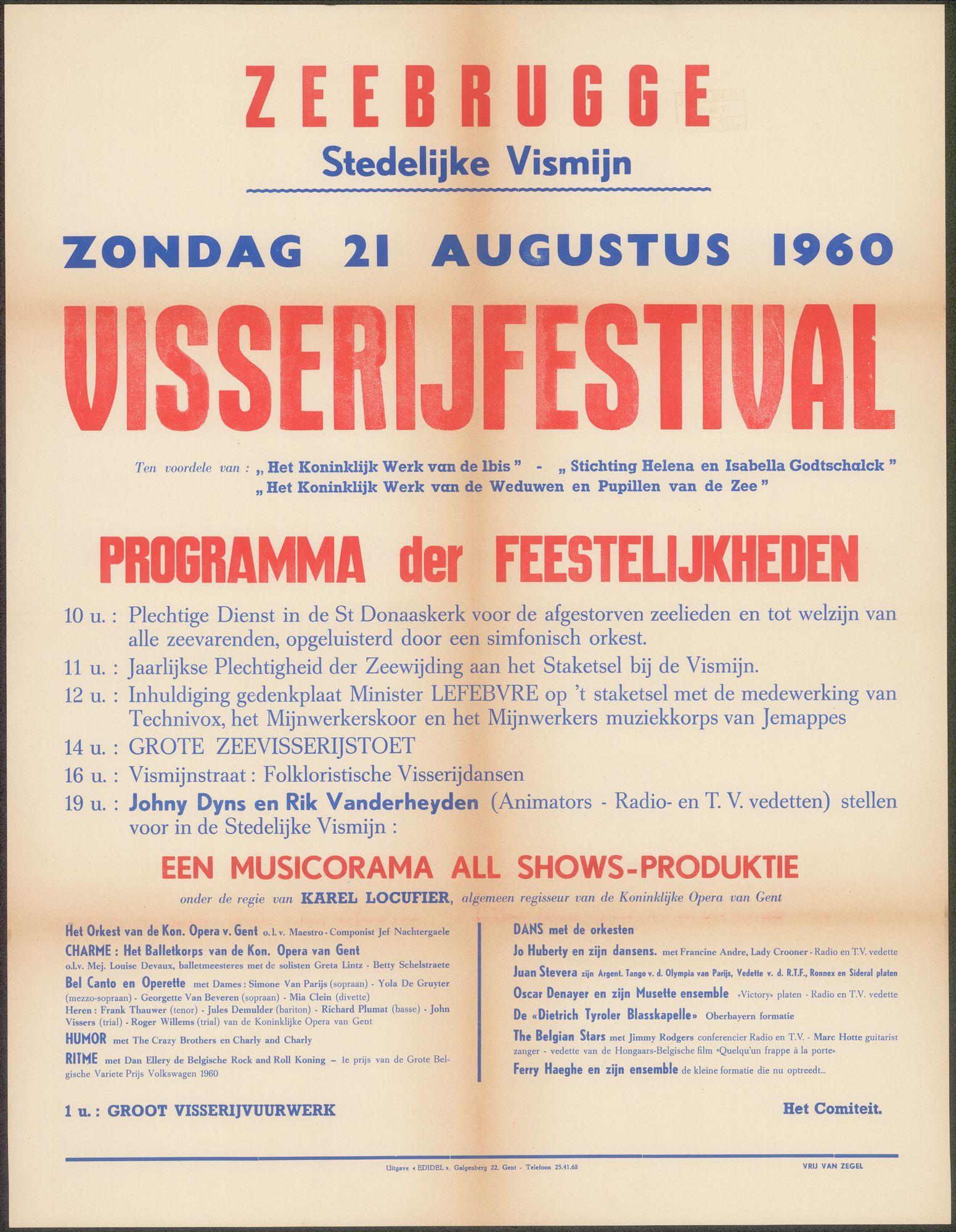 Visserijfestival, Zeebrugge, Stedelijke Vismijn, 1960