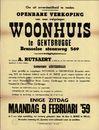 Openbare verkoop van zeer welgelegen woonhuis te Gentbrugge, Brusselse steenweg, nr. 569 (Brusselsesteenweg), Melle, 9 februari 1959