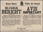 Stad Gent, Belangrijk bericht   Ville de Gand, Avis important.