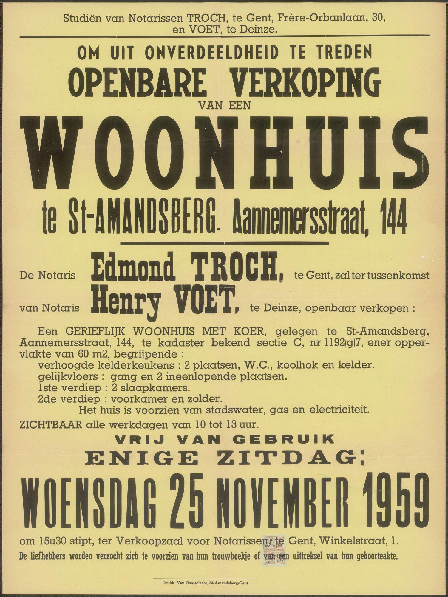 Openbare verkoop van een woonhuis te Sint-Amandsberg - Aannemersstraat, nr.144, Gent, 25 november 1959
