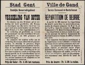 Stad Gent, Stedelijke Bevoorradingsdienst, Verdeeling van boter | Ville de Gand, Service Communal de Ravitaillement, Repartition de beurre.