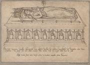 Gent: Sint-Baafsplein: Sint-Baafskathedraal: crypte, onder de Bakkerskapel: grafmonument van Margriet van Gistel (+1431), dame van Kalken, voogd van Wichelen en Serskamp, voor 1569