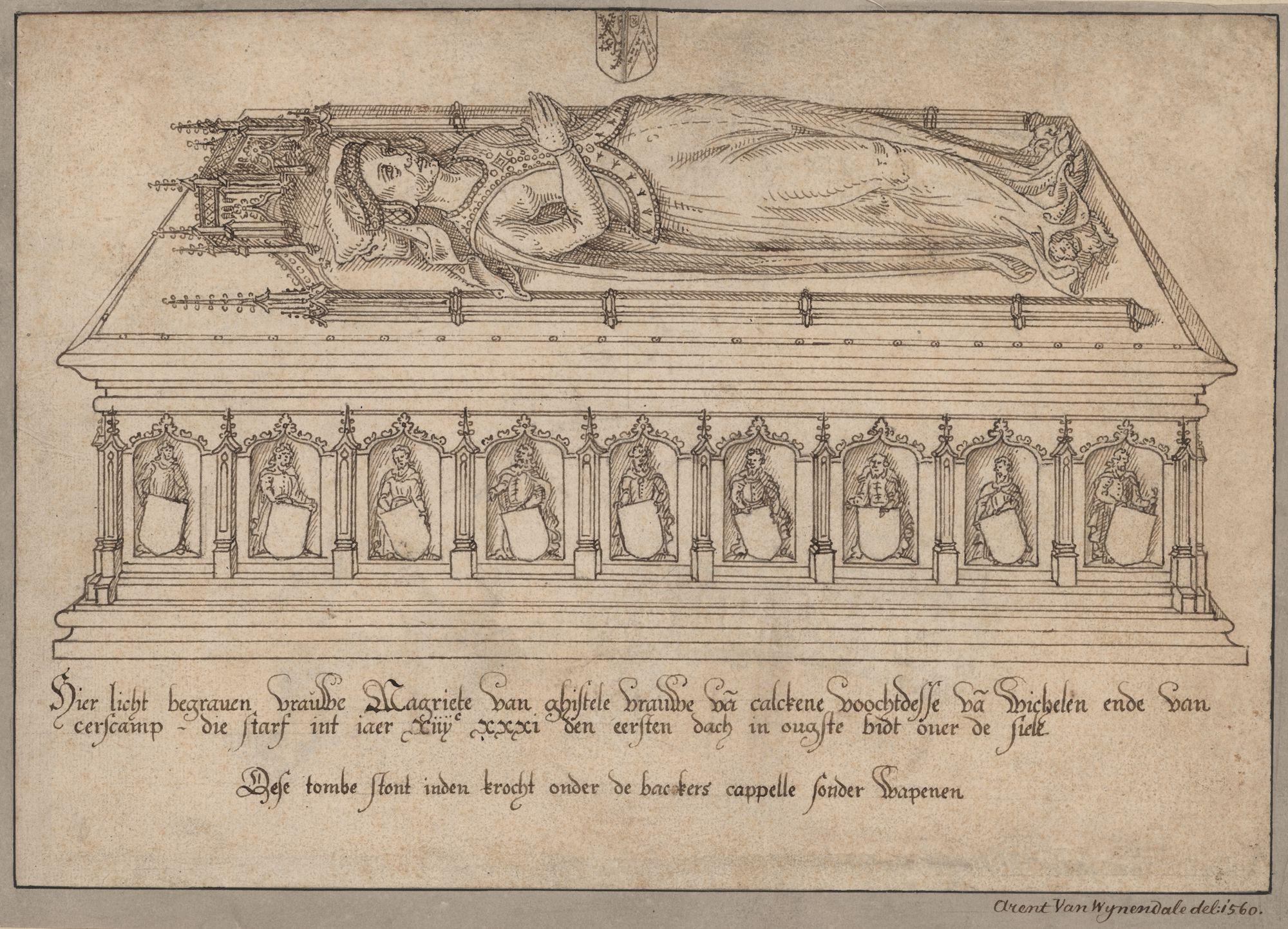 Gent: Sint-Baafsplein: Sint-Baafskathedraal: crypte, onder de Bakkerskapel: grafmonument van Margriet of Margaretha van Gistel (+1431), dame van Kalken, voogd van Wichelen en Serskamp, voor 1569