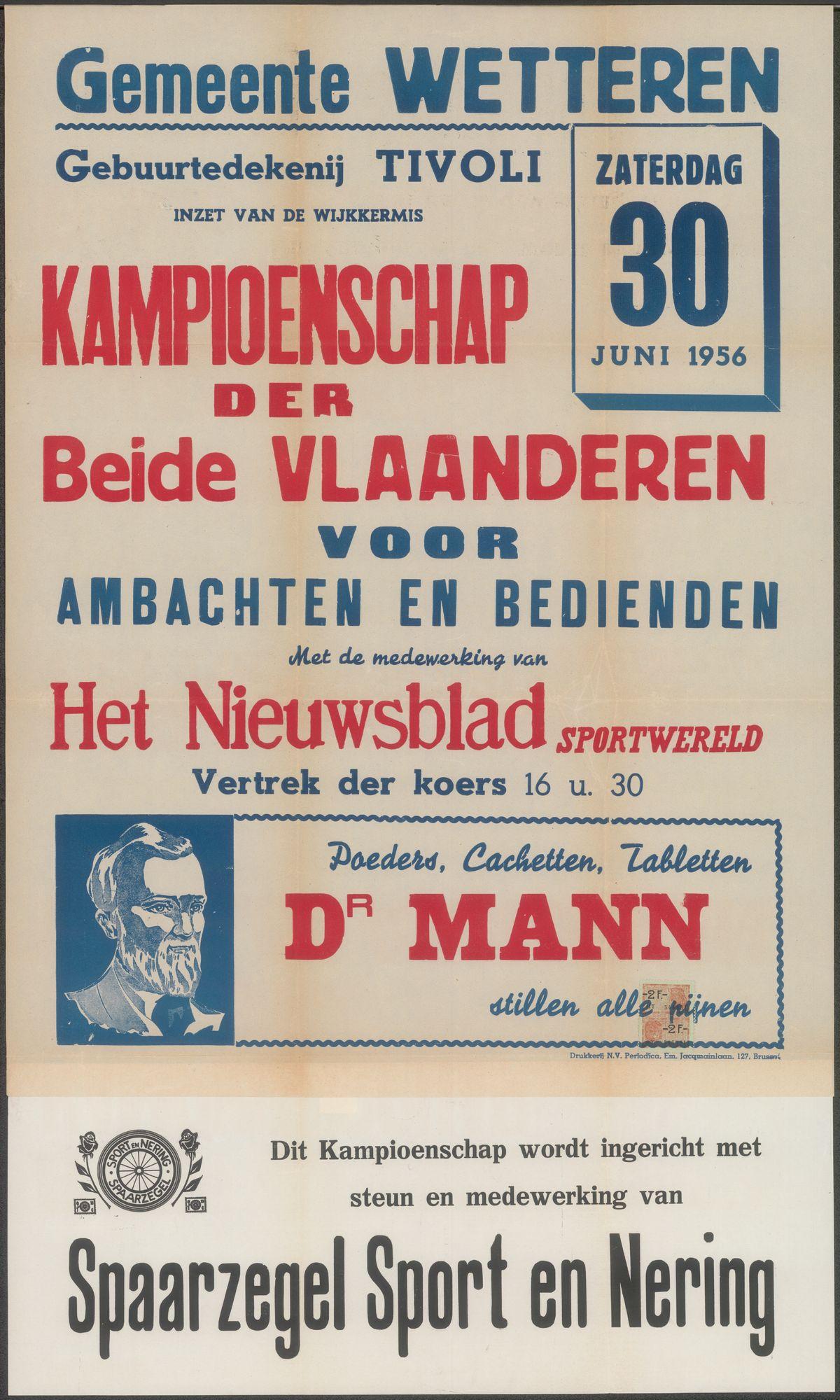 Kampioenschap der Beide Vlaanderen voor ambachten en bedienden, Gemeente Wetteren, zaterdag 30 juni 1956