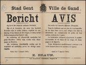 Stad Gent, Bericht | Ville de Gand, Avis.