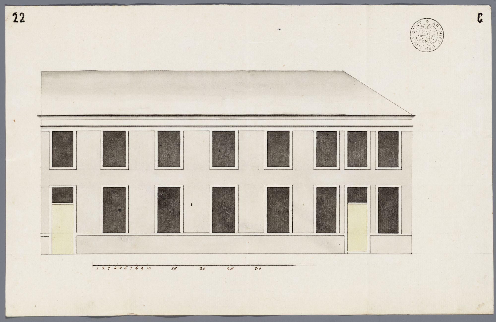 Gent: Buiten de Brugse Poort, 1782: opstand gevel