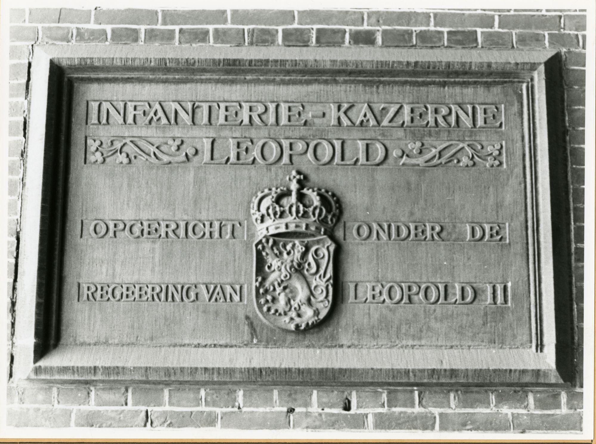 Gent: Gaspar De Craeyerstraat 2: Leopoldskazerne: gedenksteen: Leopoldskazerne, 1979