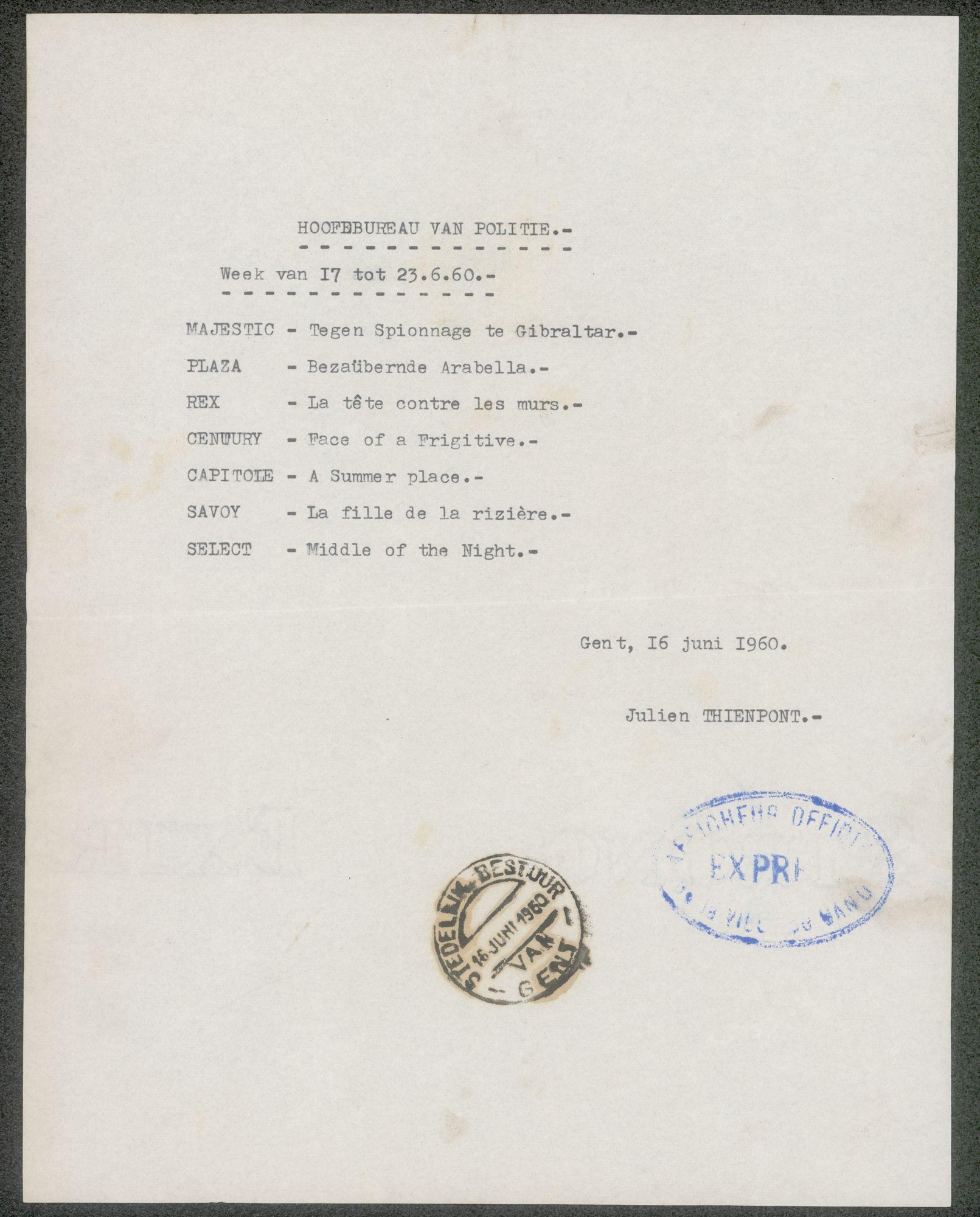 Lijst van filmaffiches afgegeven aan het hoofdbureau van politie, Gent, week van 17 tot 23 Juni 1960