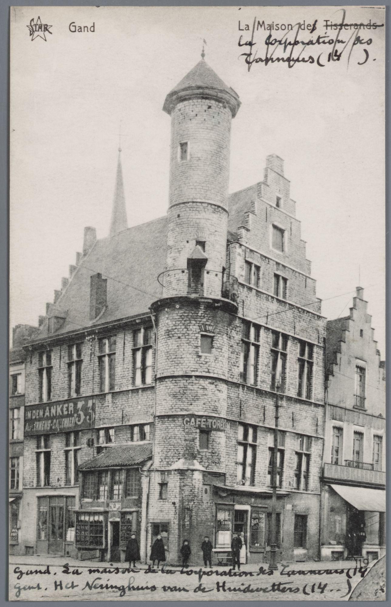Gent: Vrijdagmarkt: het Toreken (ambachtshuis van de huidenvetters)