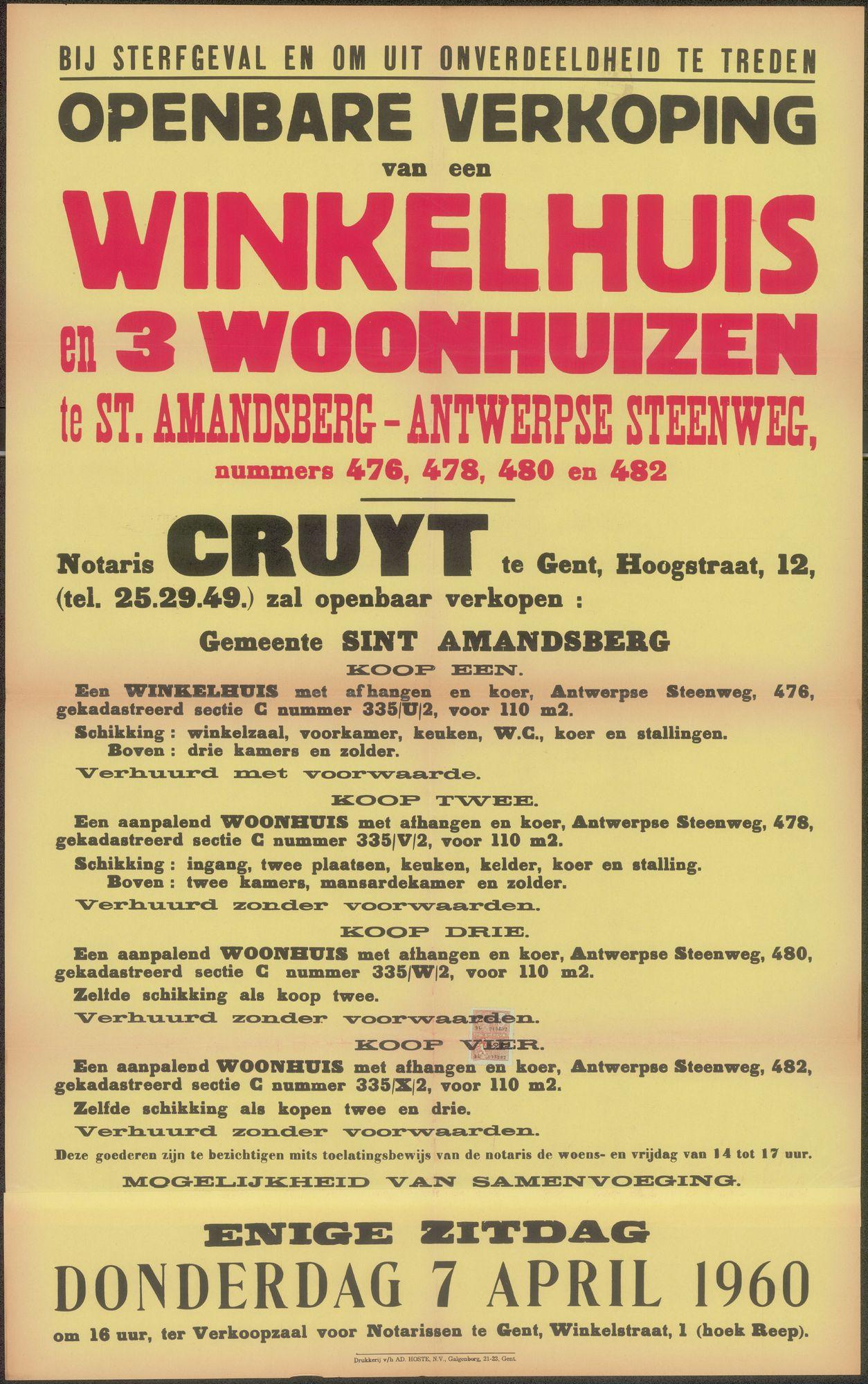 Openbare verkoop van een winkelhuis en 3 woonhuizen te Sint-Amandsberg - Antwerpsesteenweg, nrs. 476, 478, 480 en 482, Gent, 7 april 1960