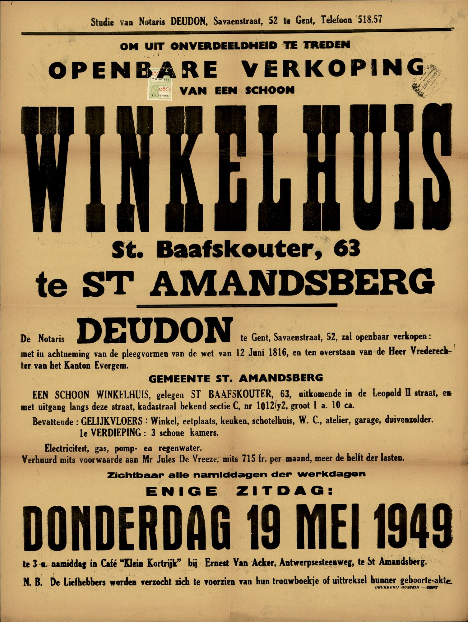 Openbare verkoop van een schoon winkelhuis, Sint-Baafskouter, nr.63 te Sint-Amandsberg, 19 mei 1949