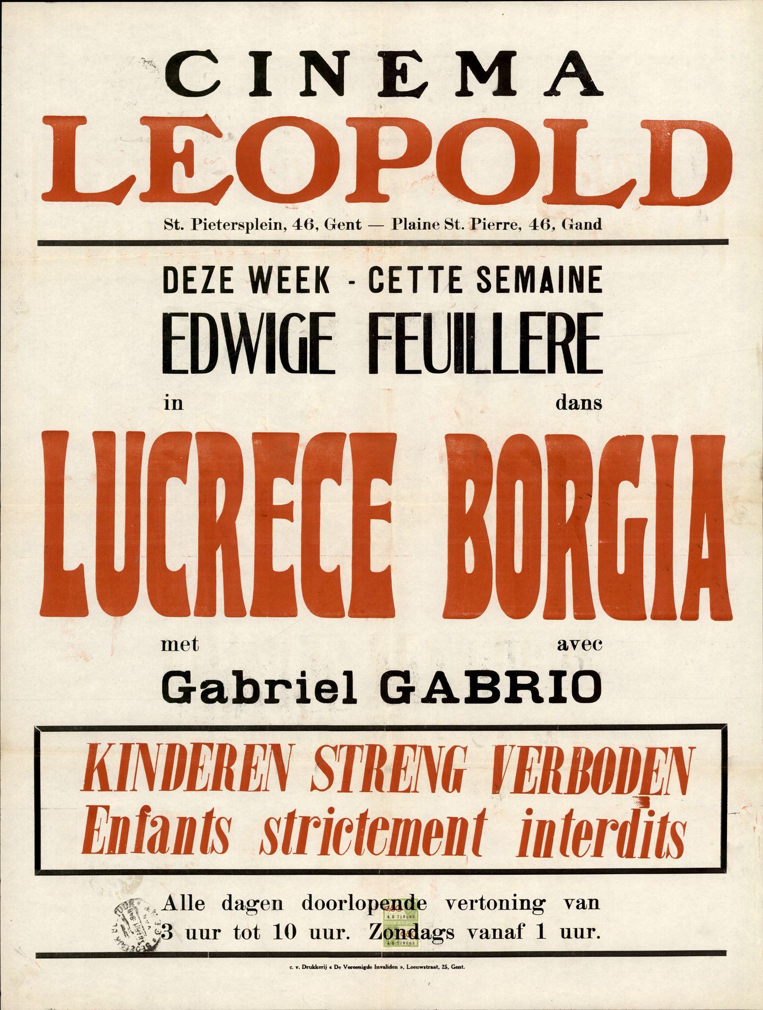 Lucrèce Borgia, Cinema Leopold, Gent, 1948