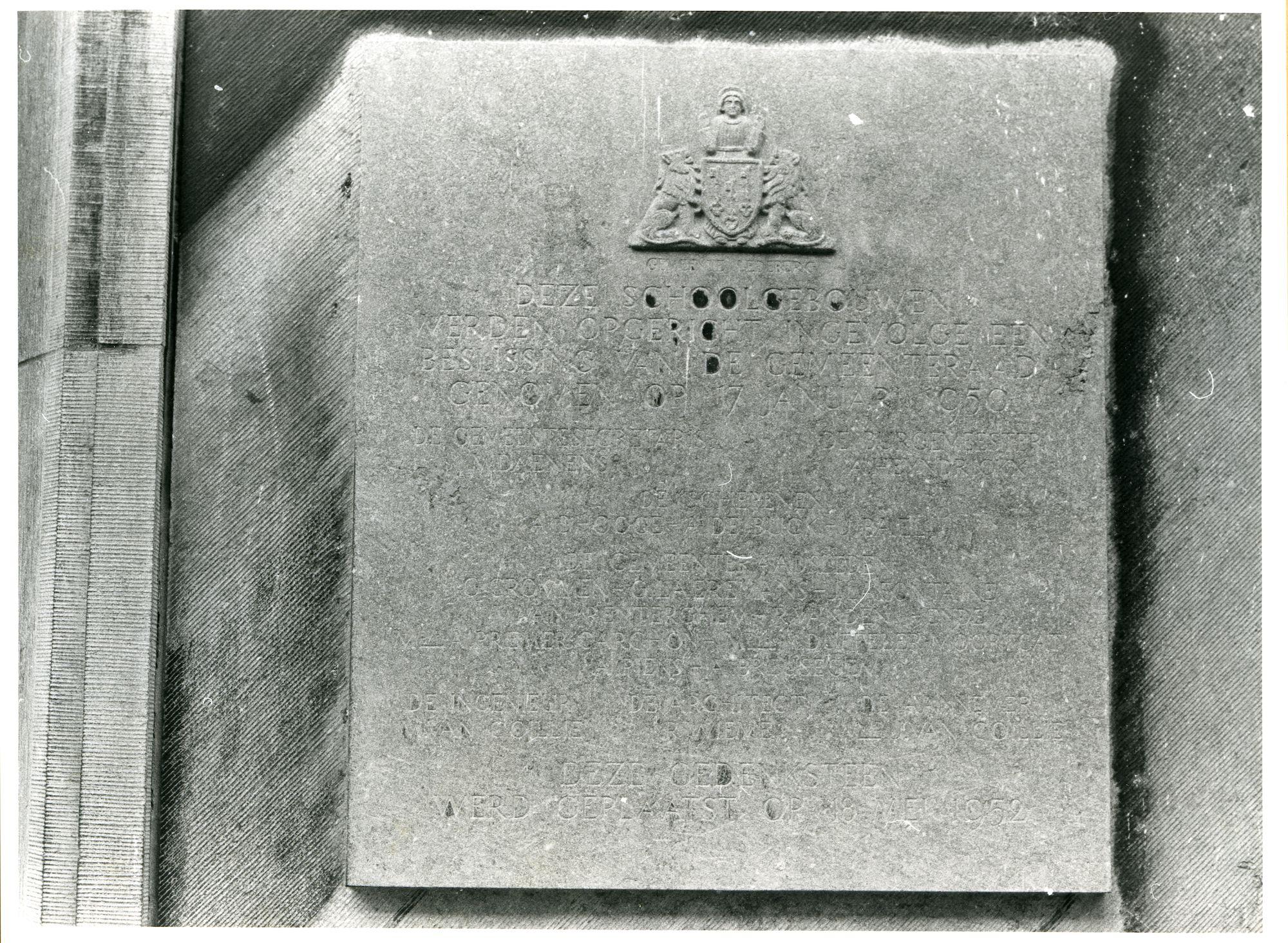 Ledeberg: Onderwijsstraat 8: Gedenksteen, 1979