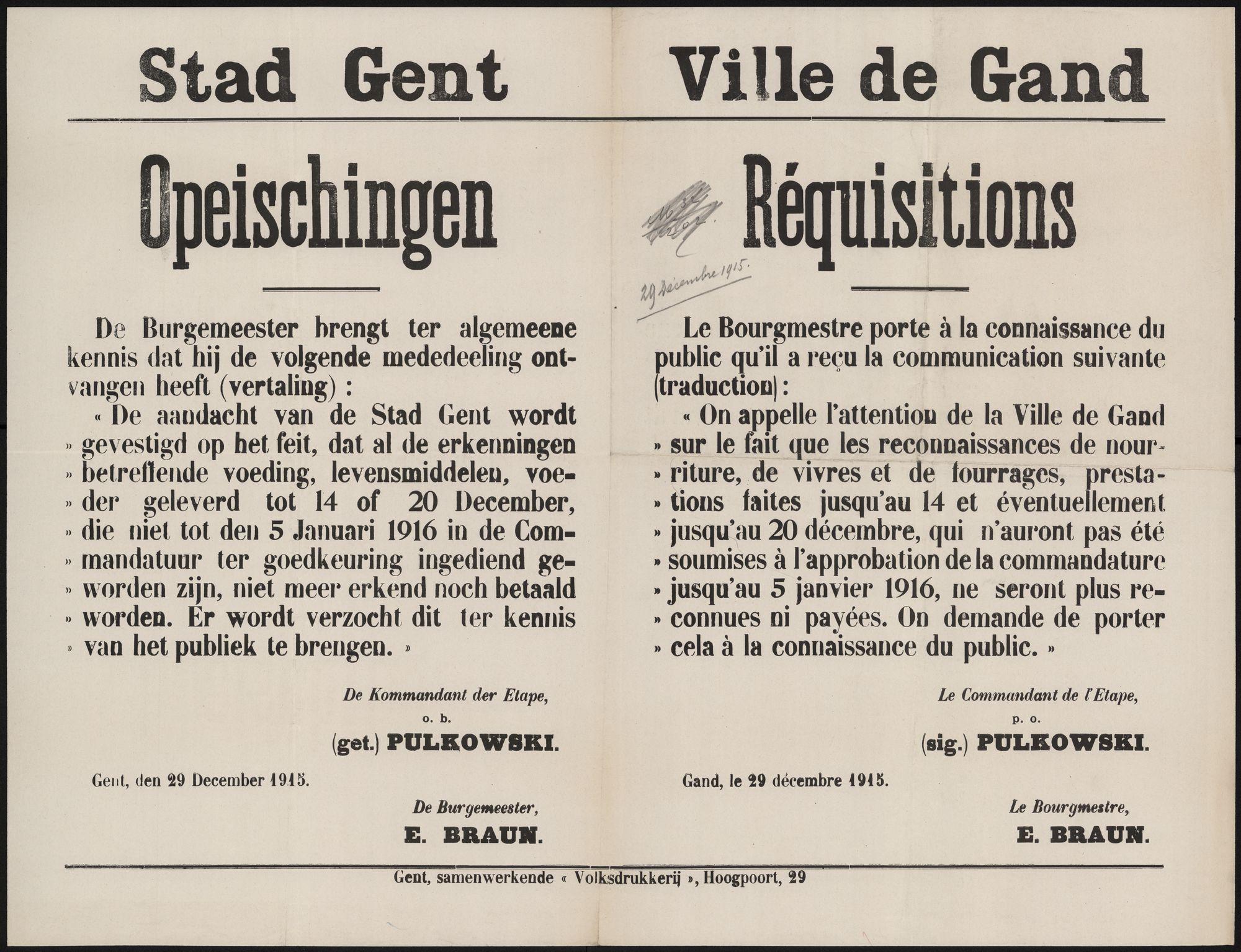 Stad Gent, Opeischingen | Ville de Gand, Réquisitions.