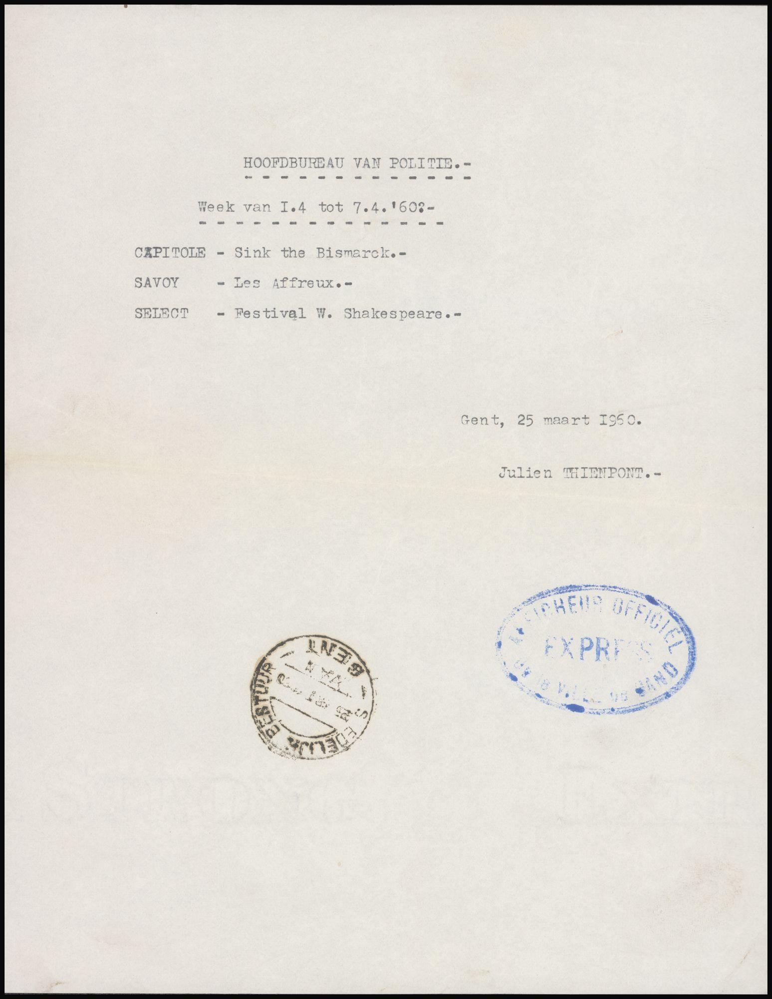 Lijst van filmaffiches afgegeven aan het hoofdbureau van politie, Gent, week van 1 tot 7 april 1960