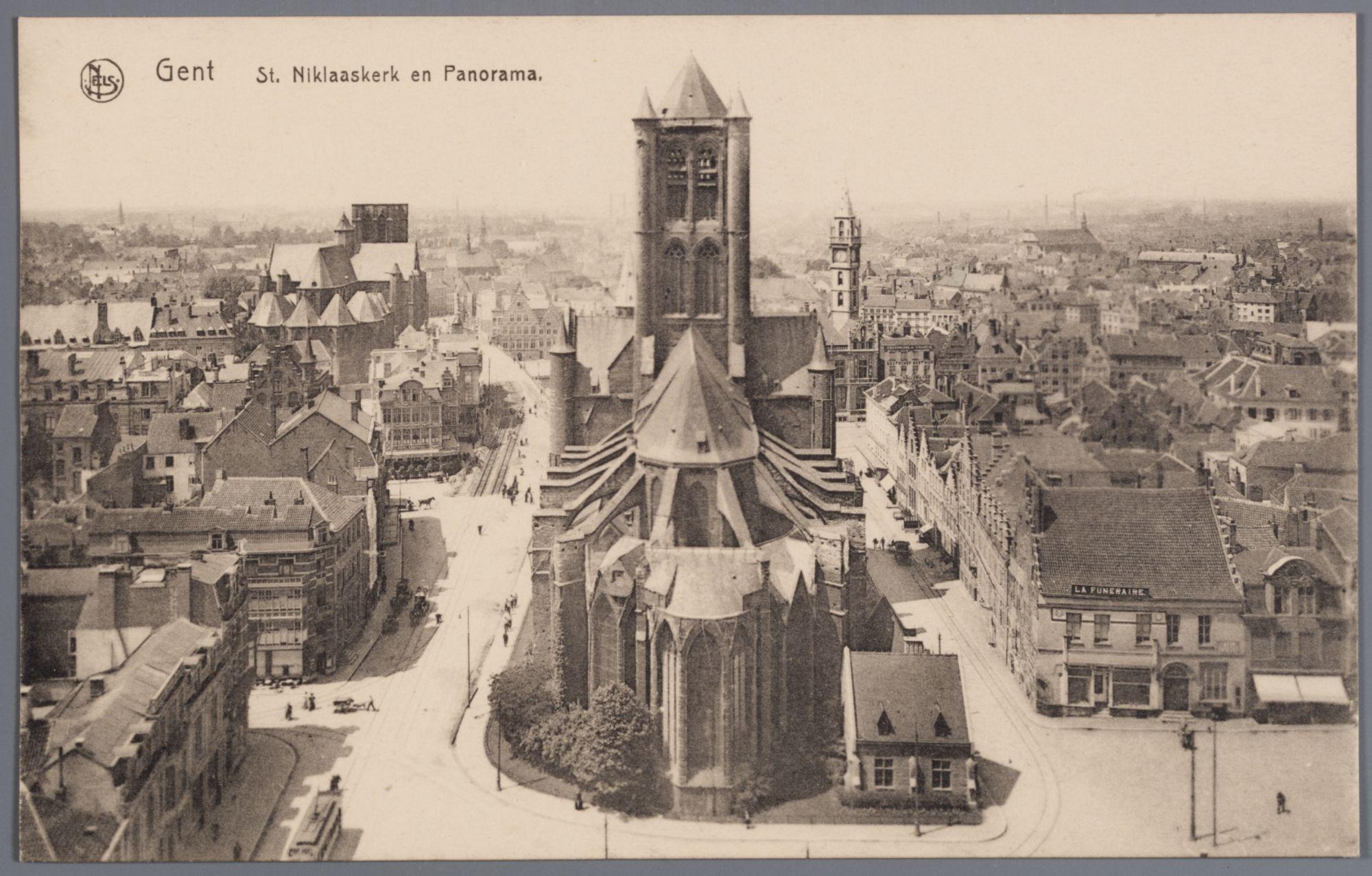 Gent: panorama met Sint-Niklaaskerk