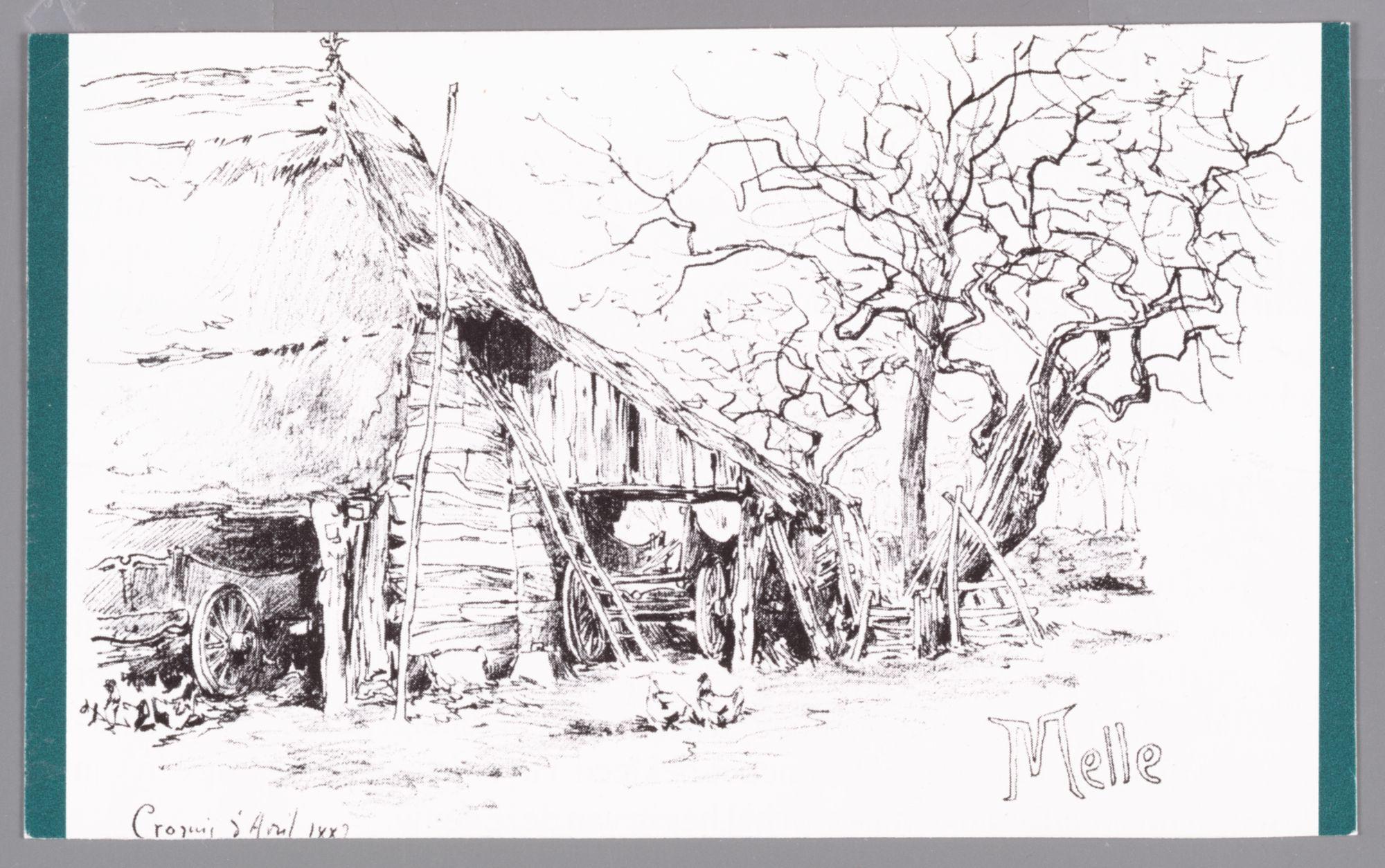 Melle: tekening van de tuin van een boerderij