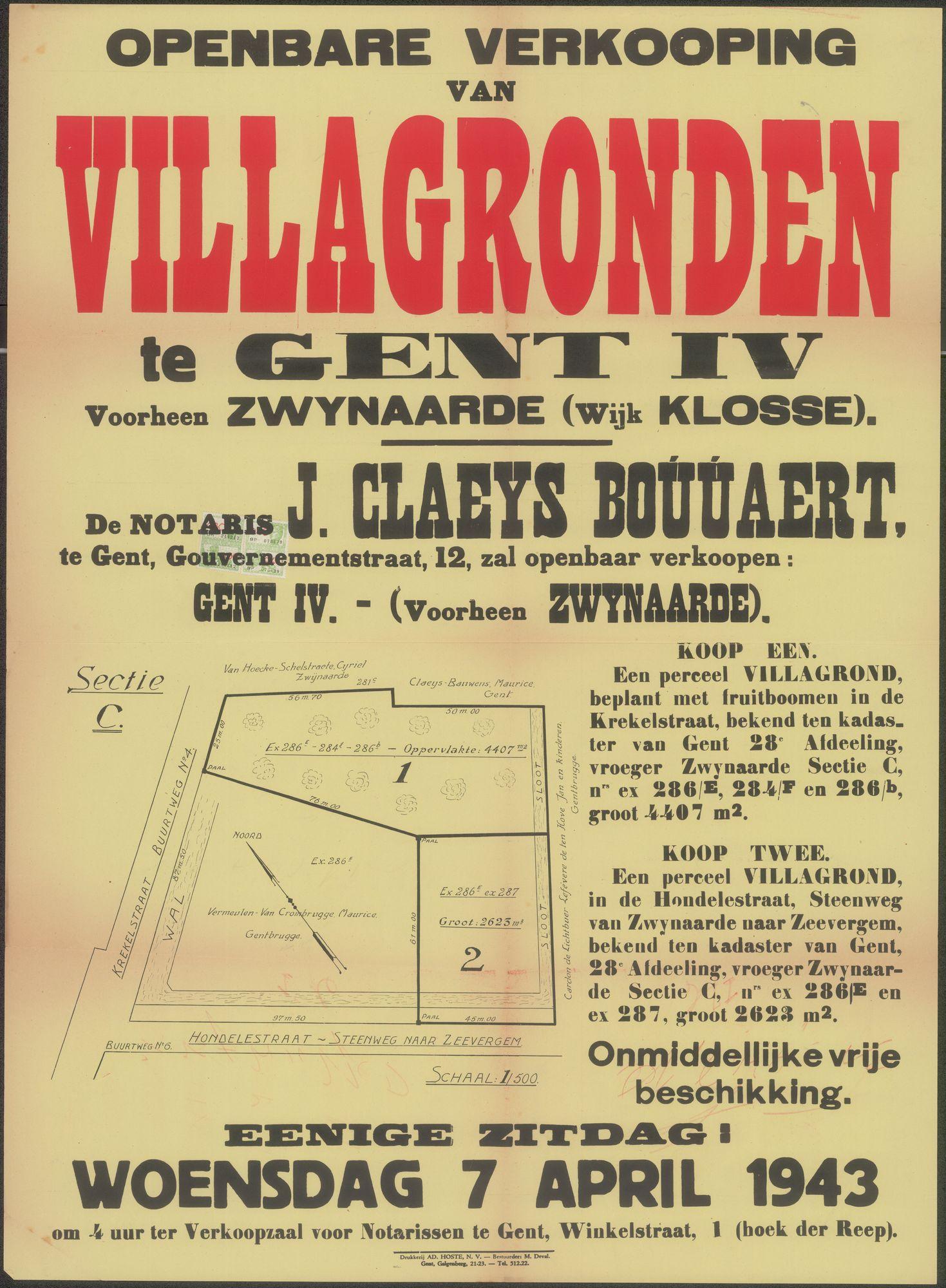 Openbare verkoop van Villagronden te Gent IV,  voorheen Zwynaarde (Wijk Klosse), Gent, 7 april 1943