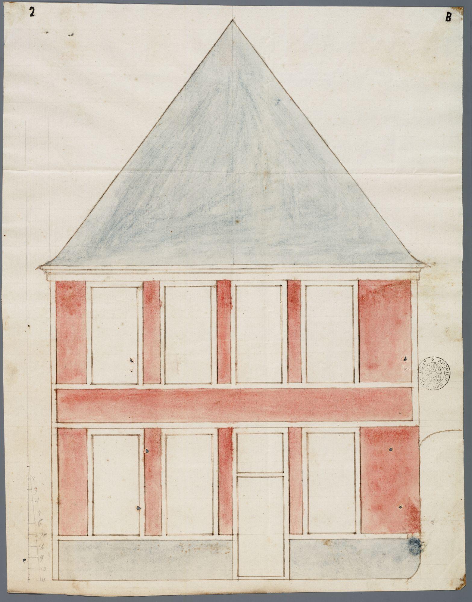 Gent: Kleine Kuiperstraat (verdwenen straatje tussen Brabantdam en huidige Kuiperskaai), 1756: opstand gevel