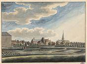 Gent: Sint-Martinuskerk van Ekkergem, klooster van Deinze en Rasphuis, zicht vanaf de huidige Pieter Colpaertsteeg
