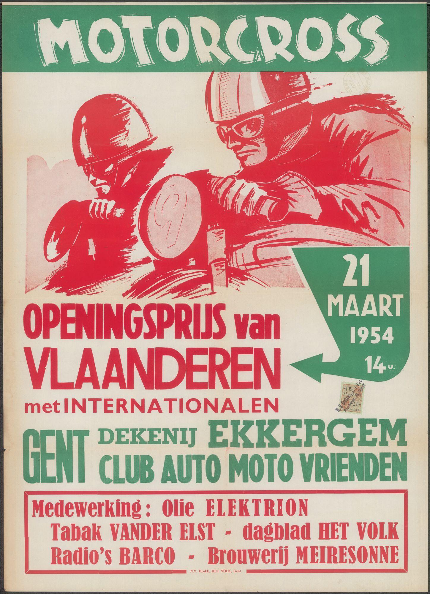 Motorcross, Openingsprijs van Vlaanderen met Internationalen, Gent, Dekenij Ekkergem, 21 maart 1954