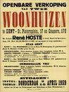 Openbare verkoop van twee woonhuizen te Gent, Sint-Pietersplein, nr.17 en Coupure, nr.170, Gent, 16 april 1959