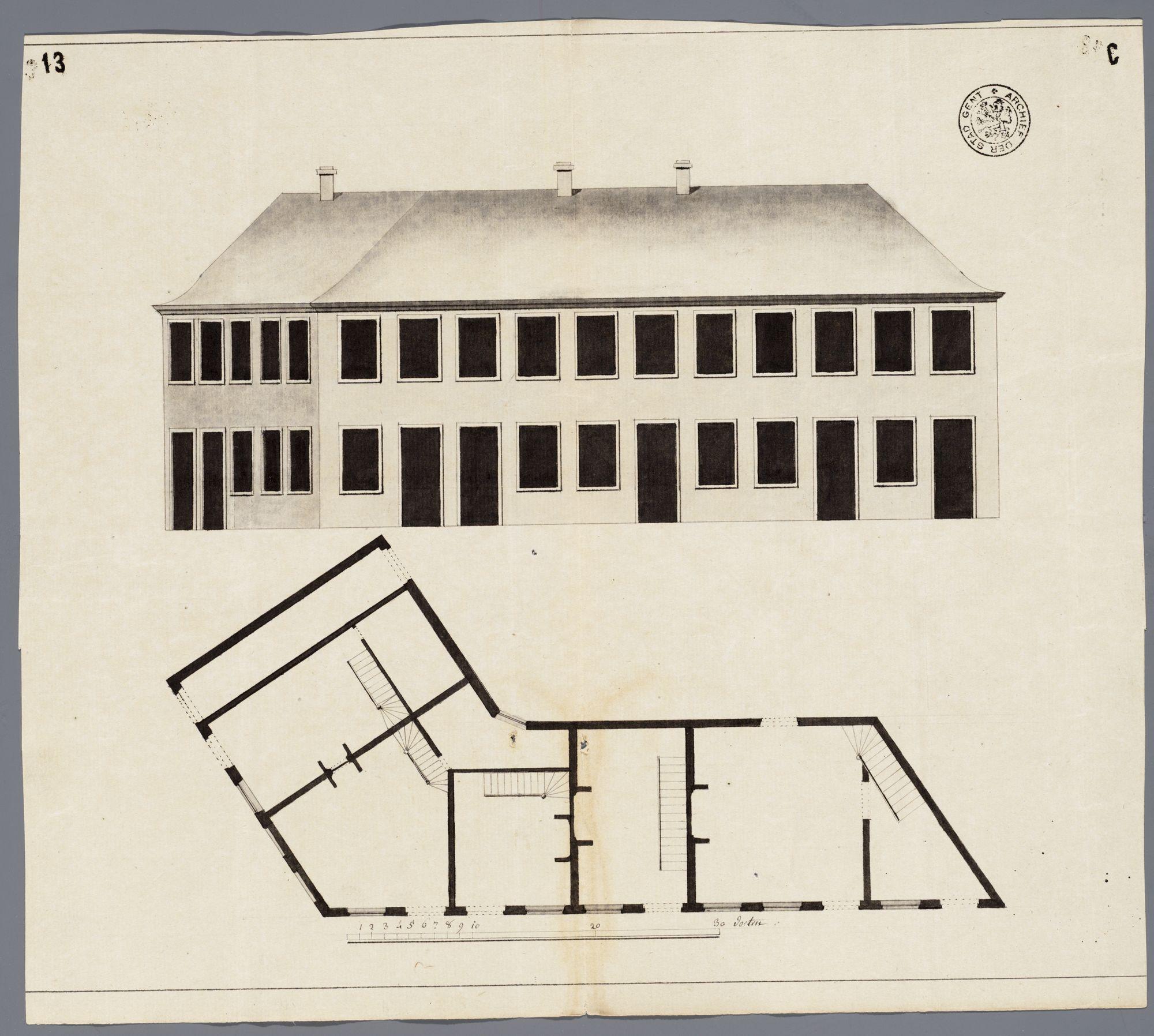Gent: Bij de Brugse Poort, 1787: opstand gevels en plattegrond van het hoekhuis