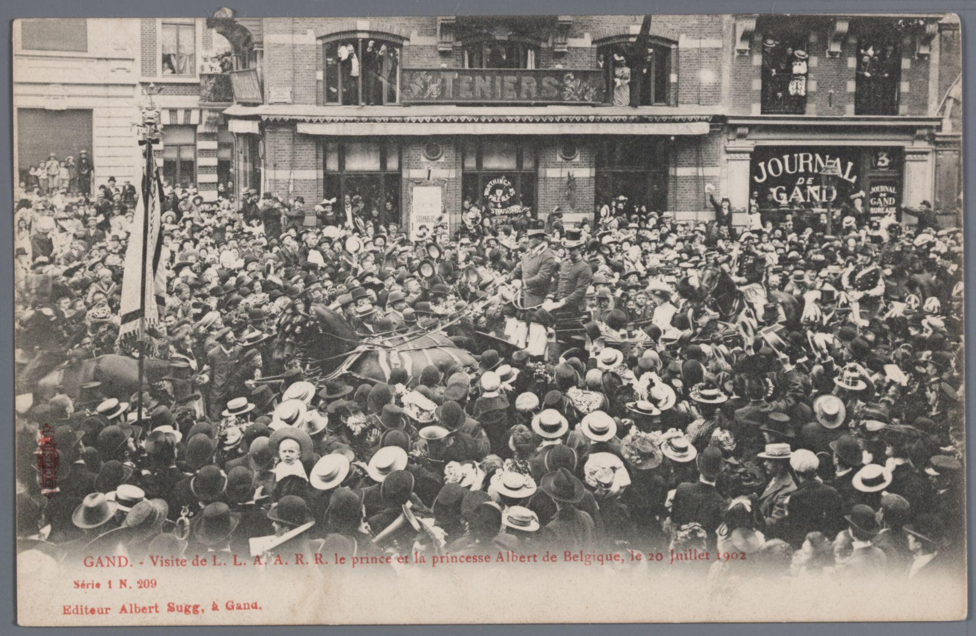 Gent: François Laurentplein: bezoek van prins Albert en prinses Elisabeth van België, 20 juli 1902