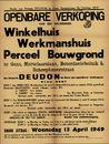 Openbare verkoop van een welgelegen winkelhuis, werkmanshuis en perceel bouwgrond te Gent, Martelaarslaan, Boterdaelebeluik & Scheeplosserstraat, Gent, 13 april 1949