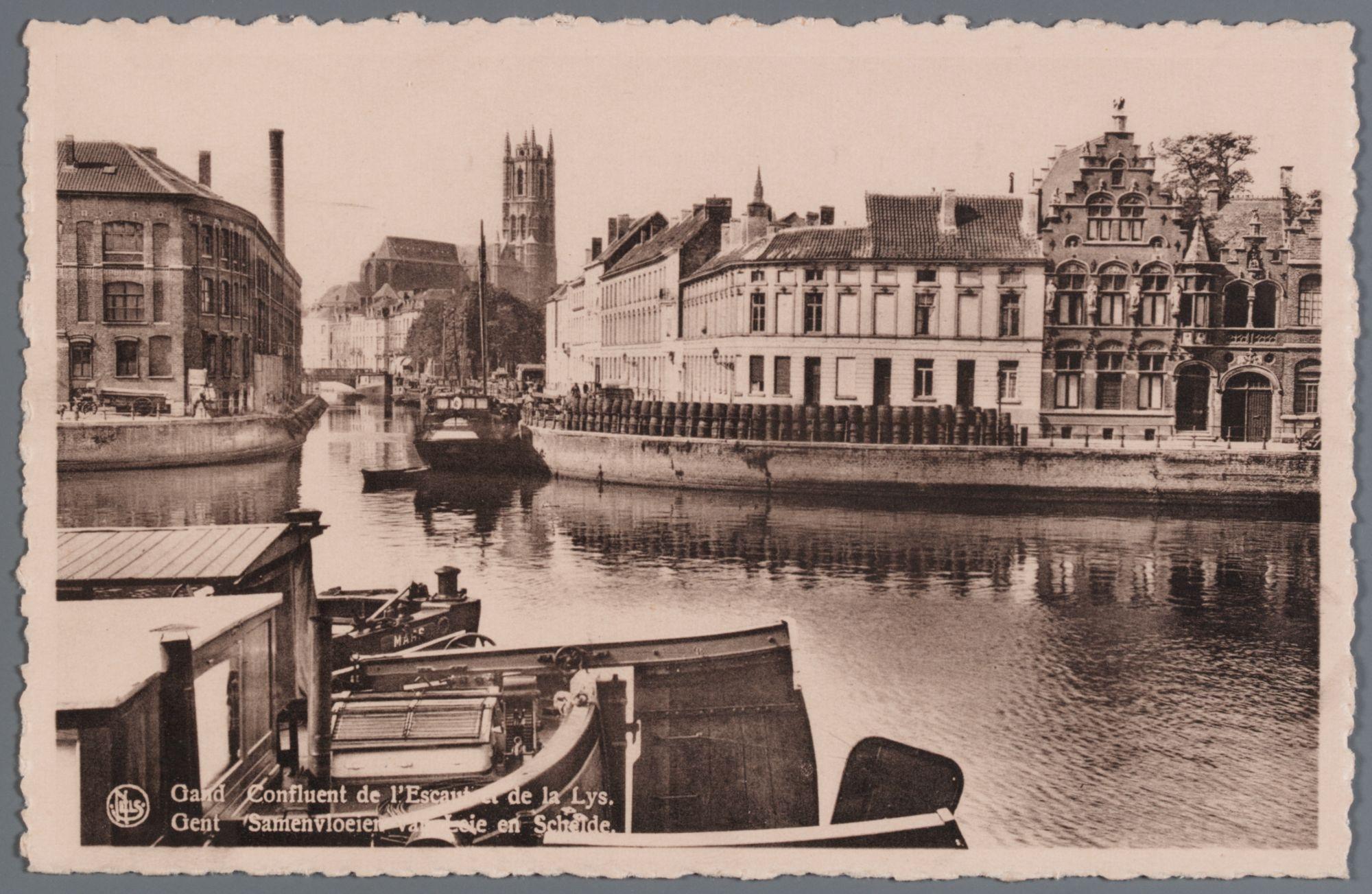 Gent: Nieuwbrugkaai en Nederschelde bij samenvloeiing met Leie