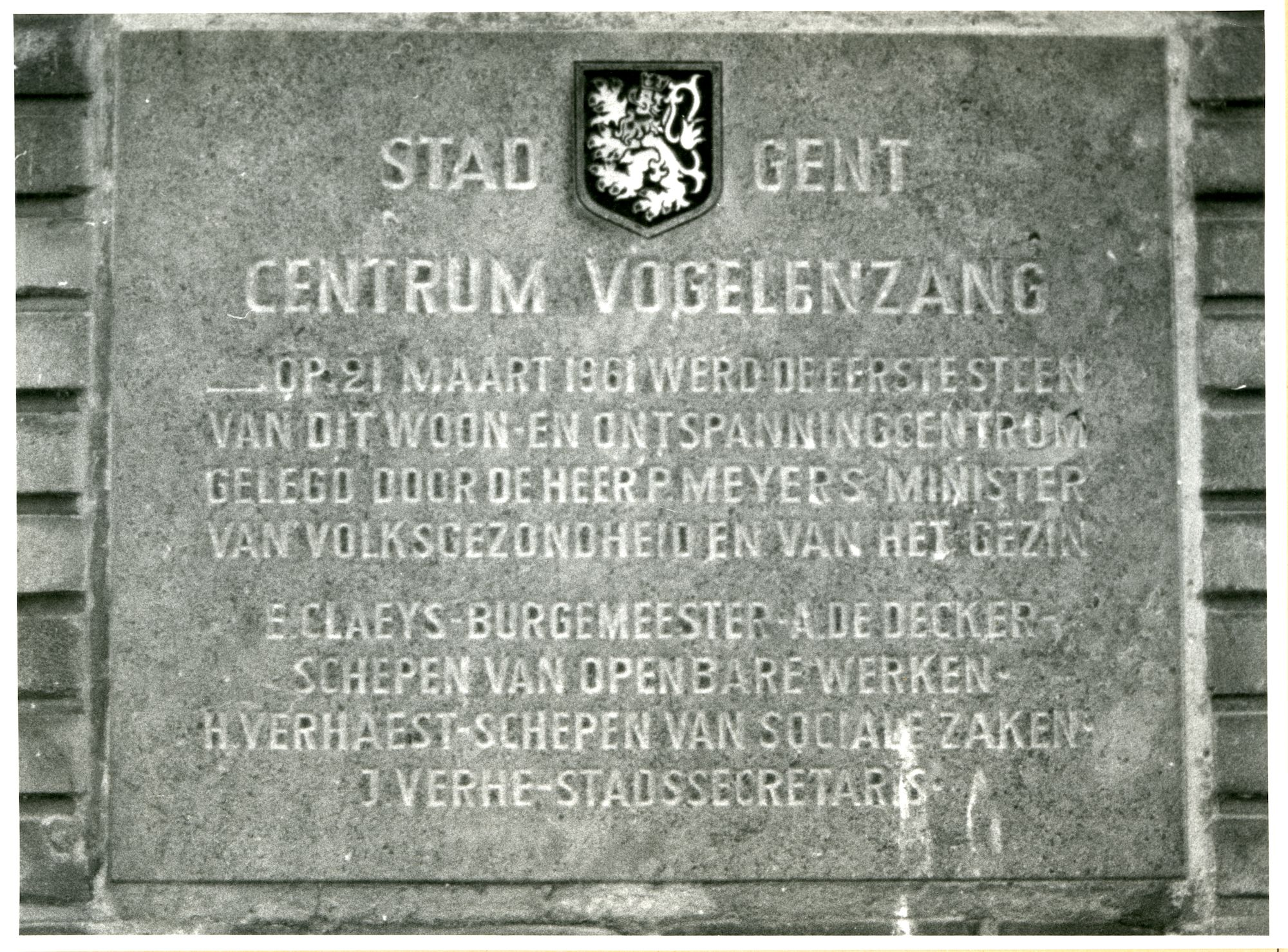 Gent: Vogelenzangpark: Gedenksteen, 1980