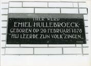 Gentbrugge: Oude Brusselseweg 24: Gedenkplaat voor componist Emiel Hullebroeck, 1979