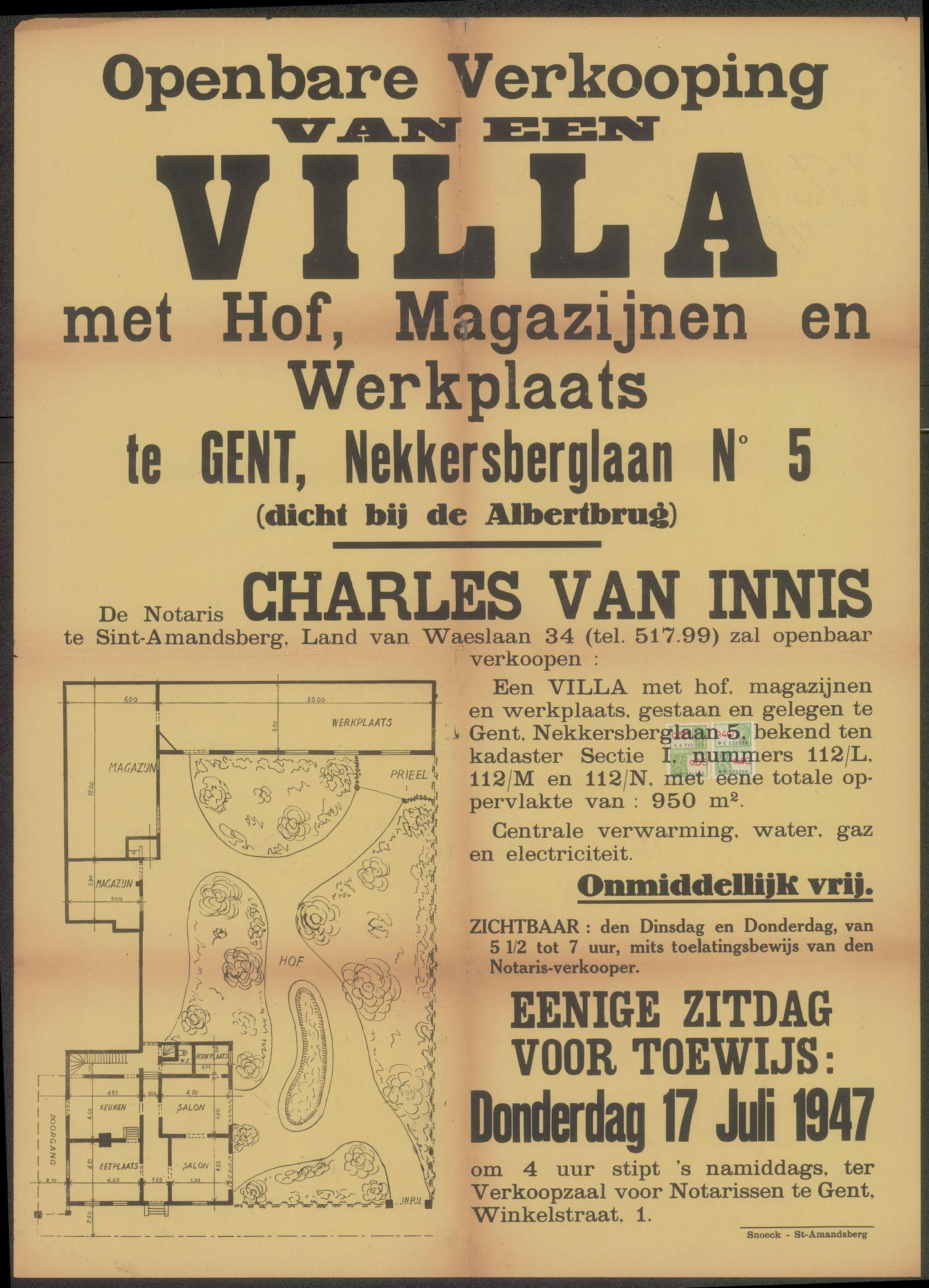 Openbare verkoop van een Villa met hof, magazijnen en werkplaats te Gent, Nekkersberglaan N° 5 (dicht bij de Albertbrug), Gent, 17 juli 1947