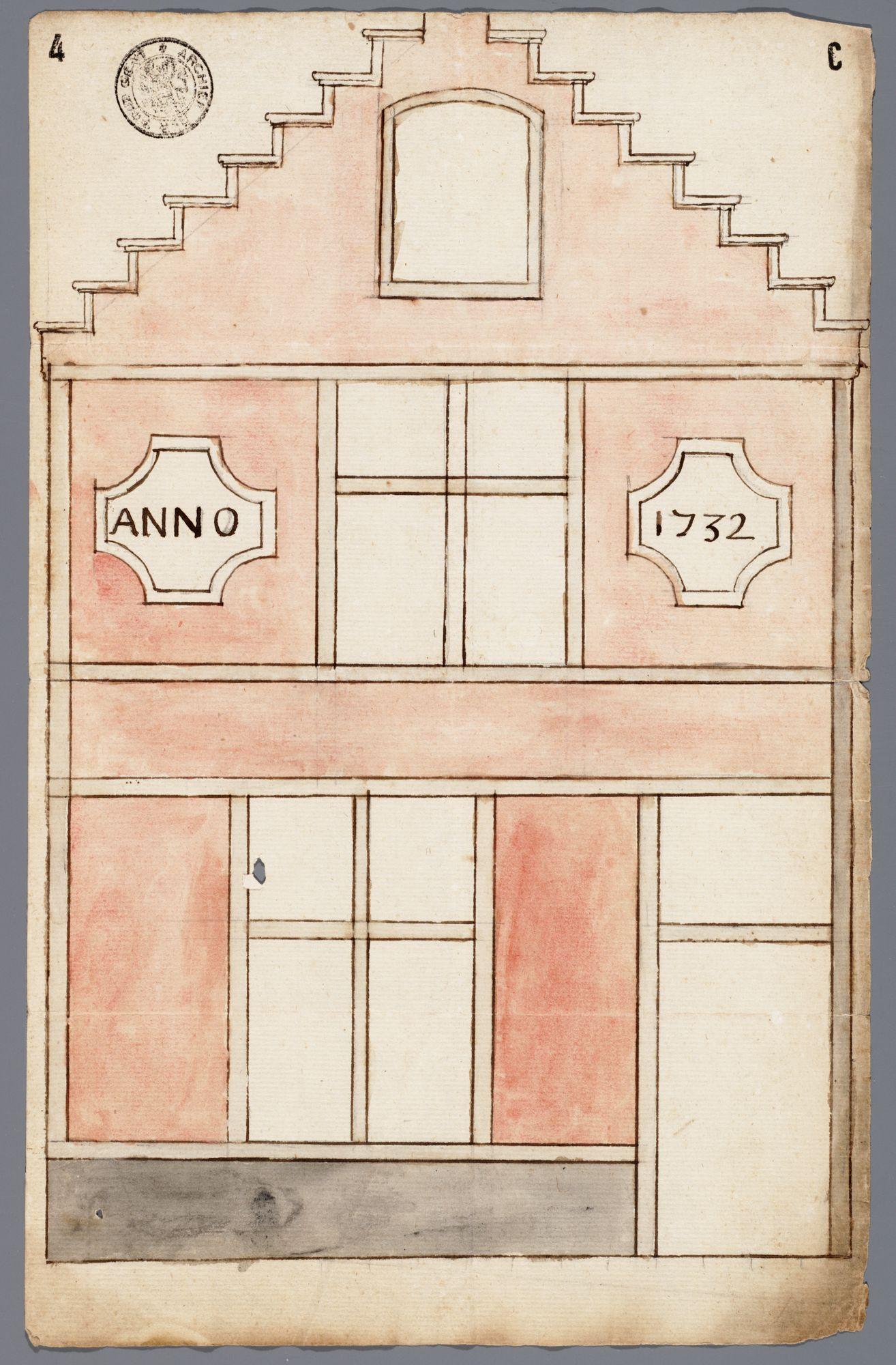 Gent: Brandstraat, 1732: opstand voorgevel