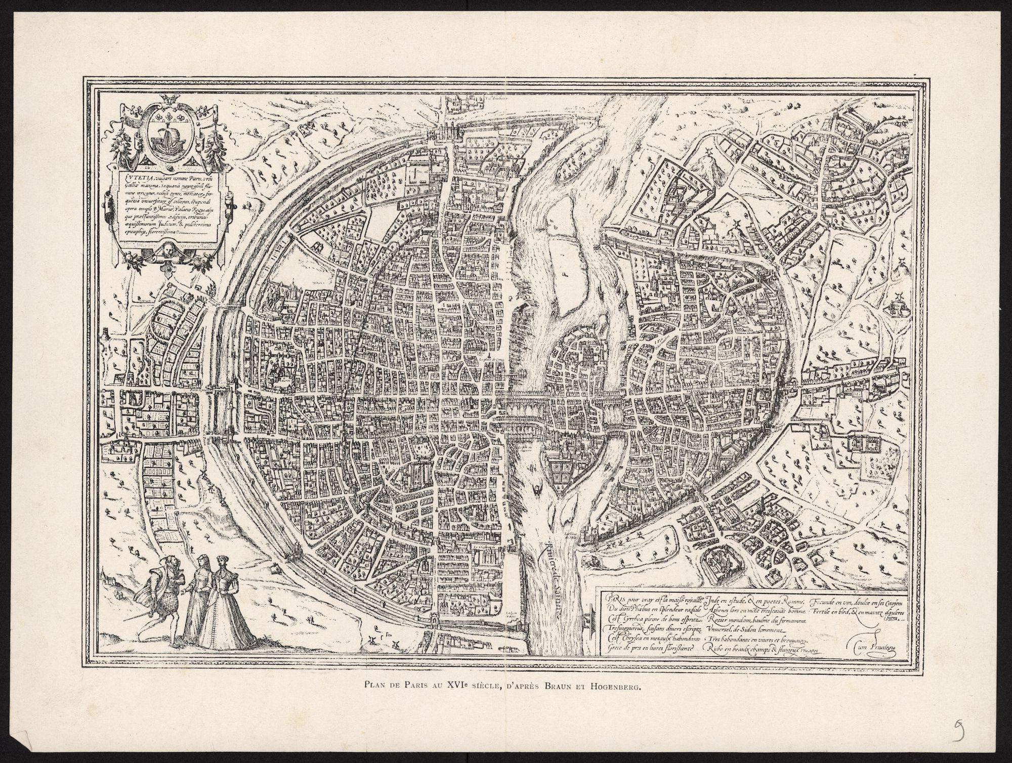 Gent: plan door Georg Braun en Franz Hogenberg, 16de eeuw