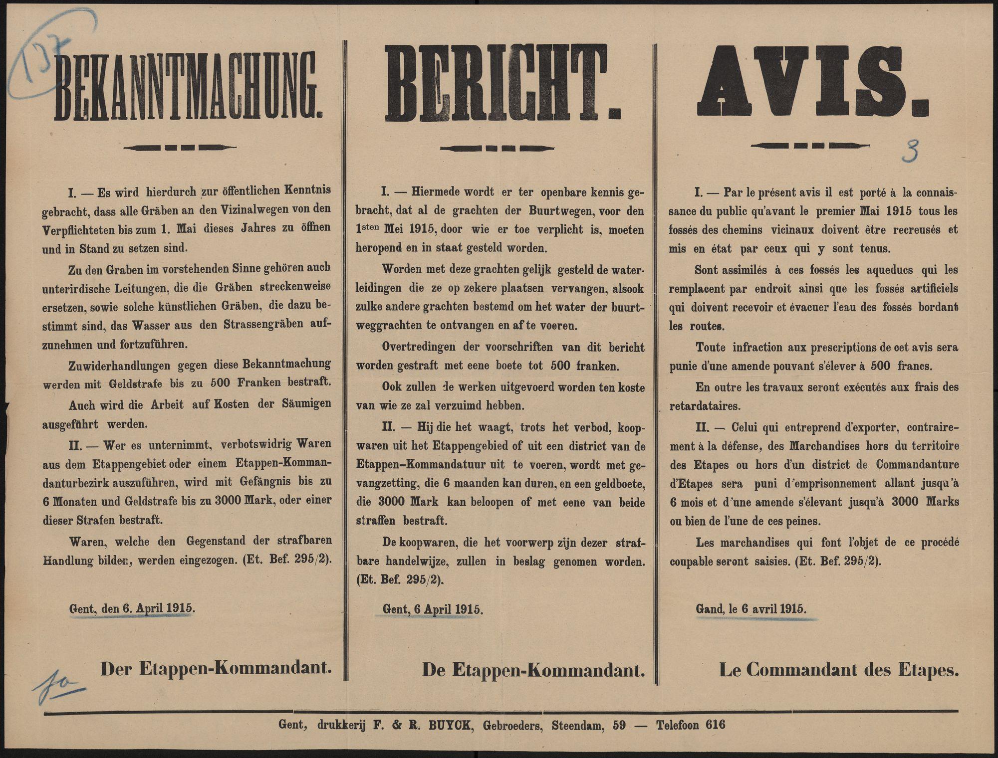 Bekanntmachung   Bericht   Avis.