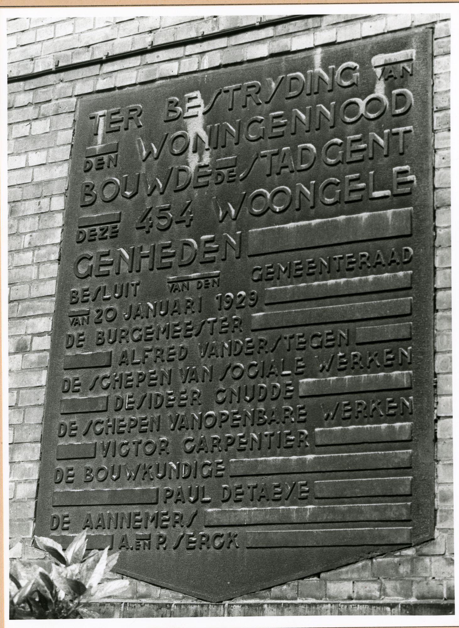 Gent: Emile Moysonlaan 1-35: gedenkplaat: Stad Gent, 1980