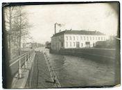 Gent: Keizervest, Schelde en Edward Pynaertkaai (nu Keizerpark): Belagerungs-Artillerie-Werkstatt (werkplaats voor belegeringsartillerie van het Duitse leger) in fabriek De Keukeleire aan de Brusselsesteenweg