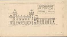 Gent: Citadelpark: bouwplan van het Feestpaleis (Palais de l'Horticulture et des Fêtes) - Plan C - gevel van het restaurant, kant tuin (Façade Restaurant vers Jardin) , 1913