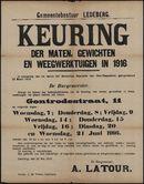 Gemeentebestuur Ledeberg, Keuring der maten, gewichten en weegwerktuigen in 1916.