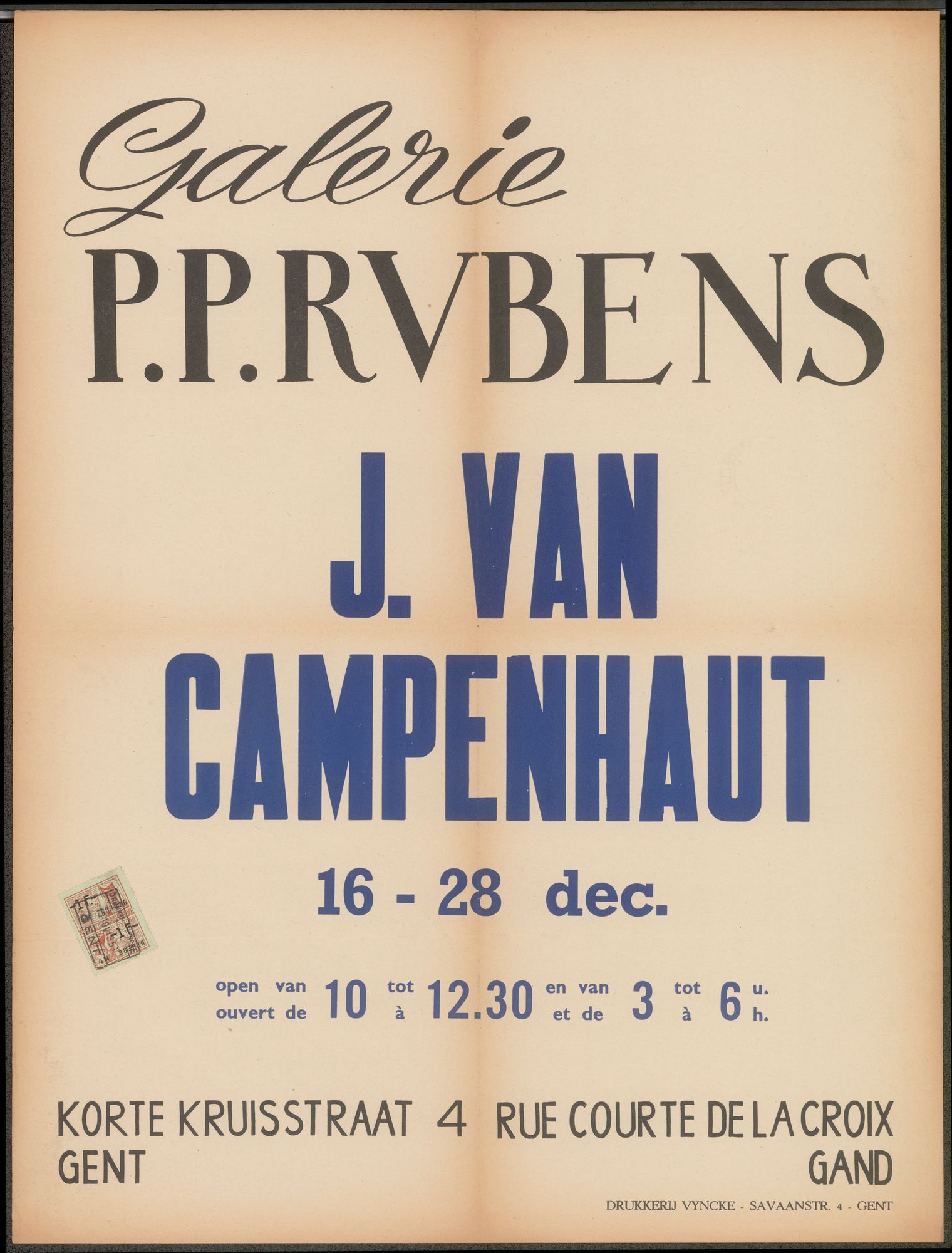 Tentoonstelling J. van Campenhaut, Galerie P.P. Rubens, Korte Kruisstraat 4 Gent, 16 december - 28 december 1956