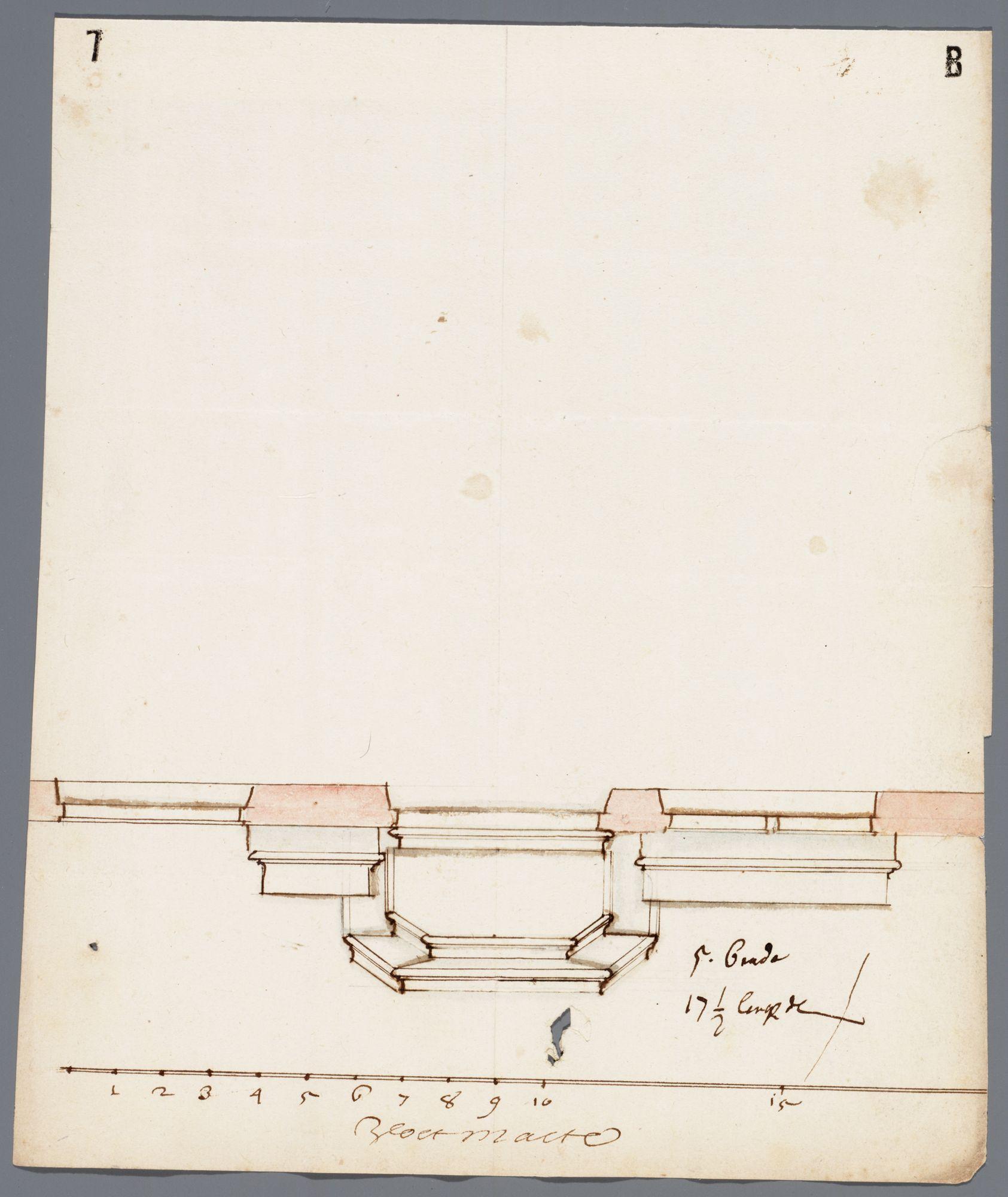 Gent: Gewad, 1715: horizontale doorsnede gevel en bordes