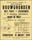 Vrijwillige openbare verkoop van best gelegen bouwgronden met fruit- en sierbomen te Sint-Amandsberg, Rozebroekstraat, Gent, 12 maart 1959
