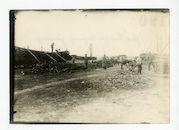 Melle: voorbereiding voor het maken van houten takkenwallen, 1915-1916