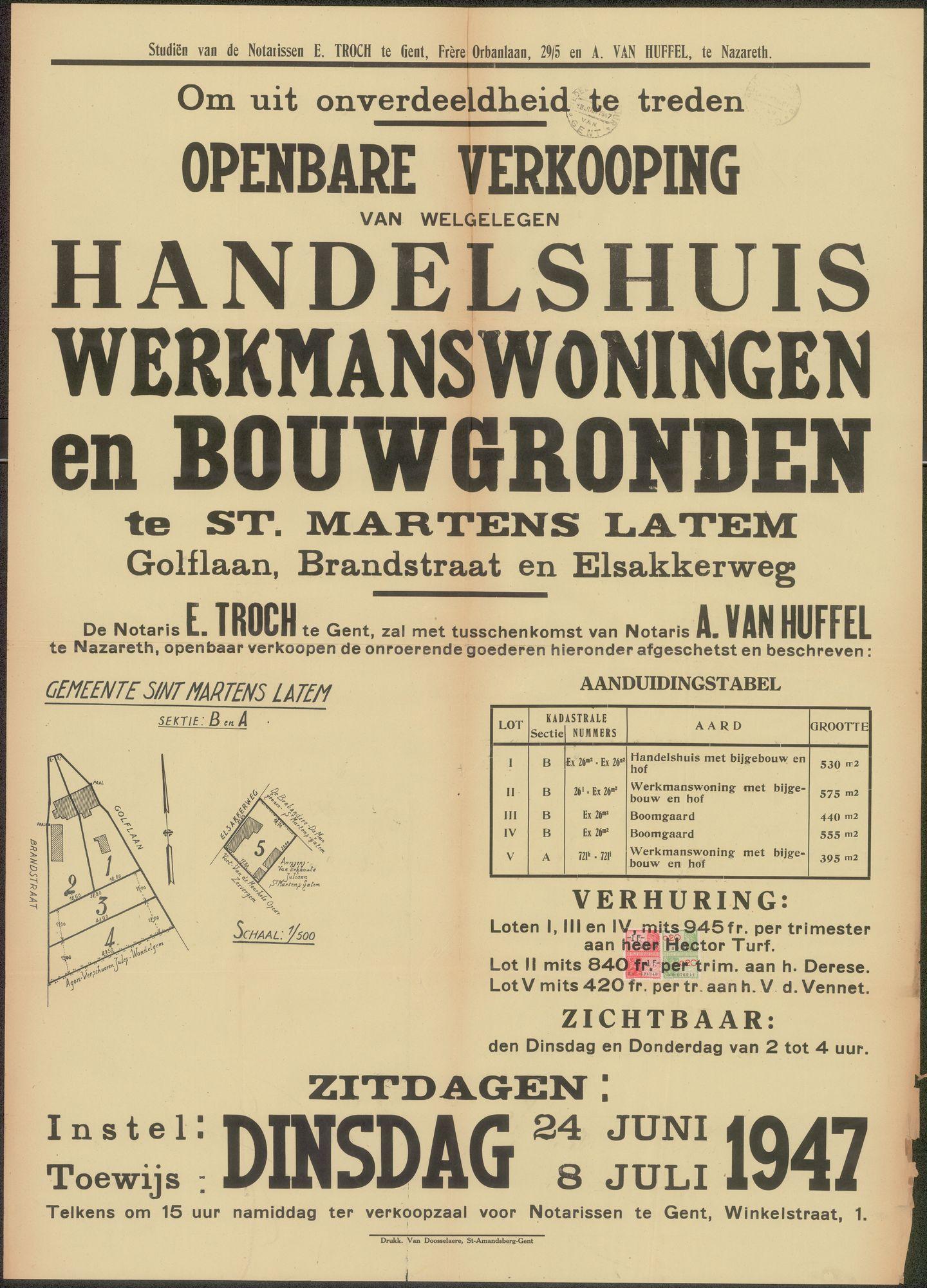 Openbare verkoop van welgelegen handelshuis, werkmanswoningen en bouwgronden te Sint-Martens-Latem, Golflaan, Brandstraat en Elsakkerweg, Gent, 8 juli 1947