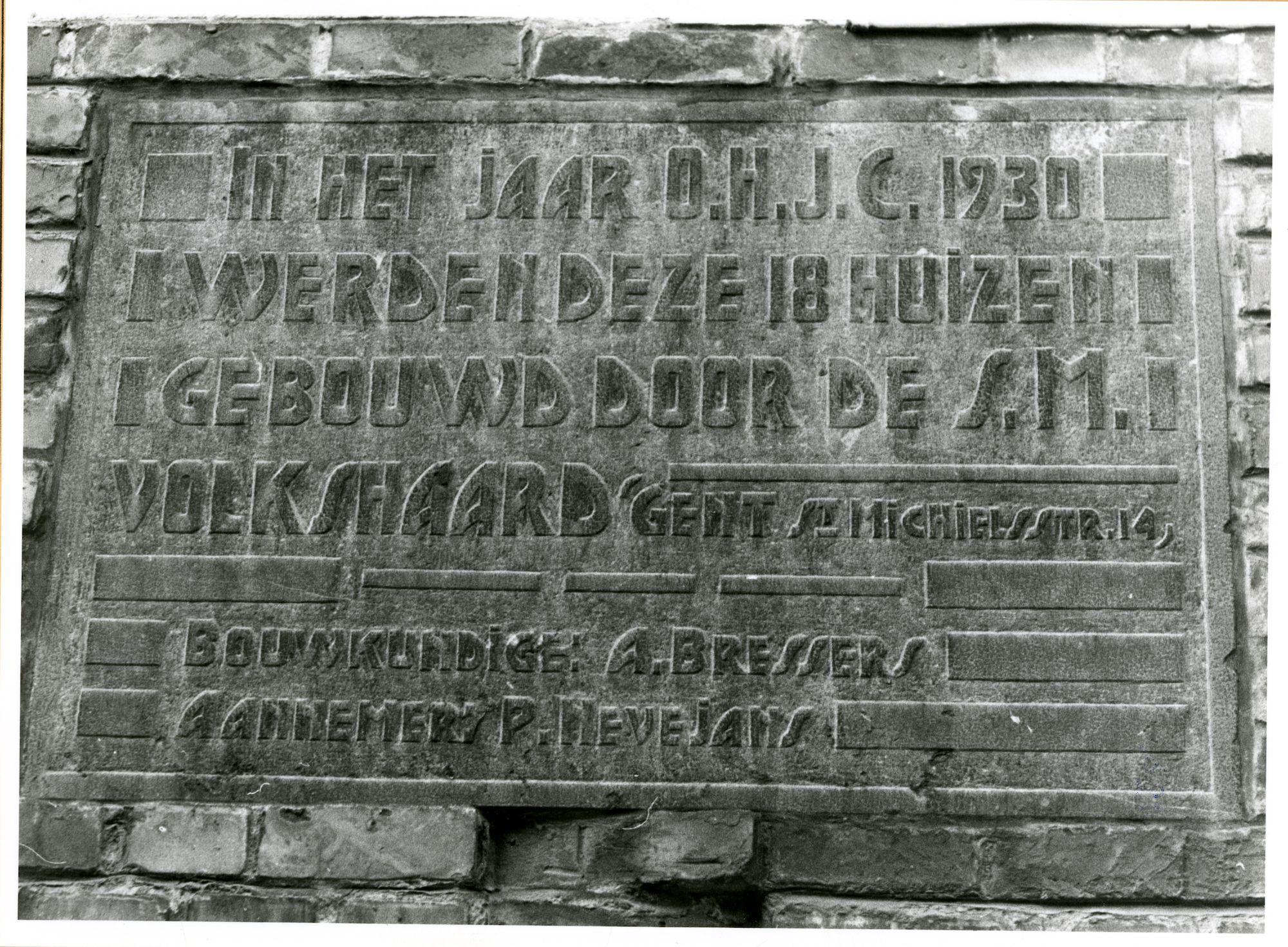 Gent: Klaverstraat 18: Gedenksteen, 1979
